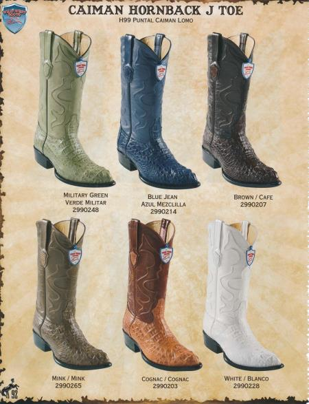 Product#2DD3 J-Toe Genuine cai ~ Alligator skin Hornback Cowboy Boots Diff. Colors/Sizes Military Green/Mink/Cognac