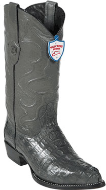 Product# SM7856 Wild West J-Toe Grey ~ Gray cai ~ Alligator skin Tail Cowboy Boots