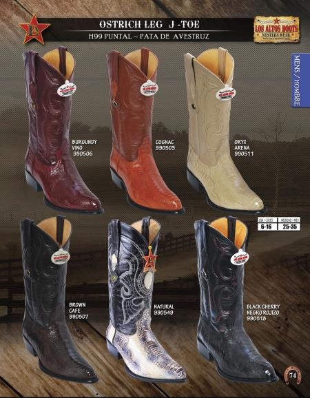 77d7fe79e5b Product# 7U75 Authentic Los altos J-Toe Genuine Ostrich Leg Western Cowboy  Boots Diff. Colors/Sizes