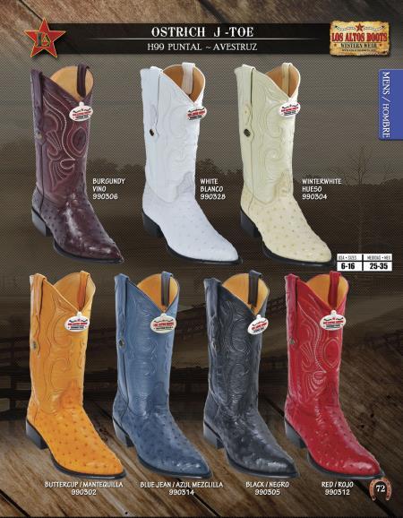 Product#E444 Authentic Los altos J-Toe Genuine Ostrich Western Cowboy Boots Diff. Colors/Sizes