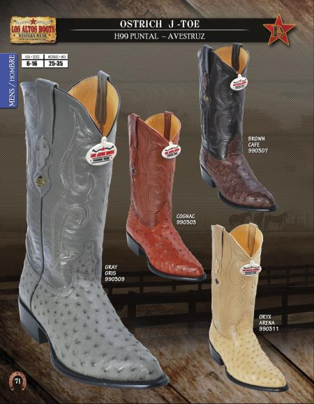 Product# W322 Authentic Los altos J-Toe Genuine Ostrich Western Cowboy Boots Diff. Colors/Sizes