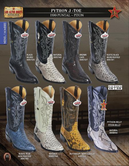 Product#J87S Authentic Los altos J-Toe Genuine Python ~ Snake Western Cowboy Boots Diff. Colors/Sizes