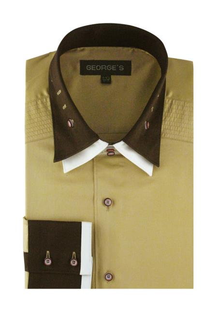 Product# JSM-4255 Men's Solid Khaki 100% Cotton Double Spread Collar French Cuff Dress Shirt