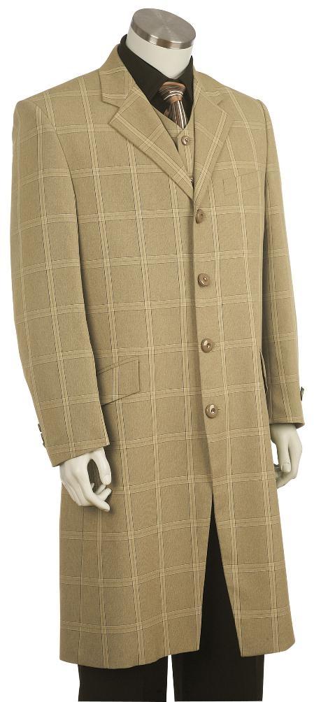 Product# RX8 Fashion Long length Zoot Suit Khaki