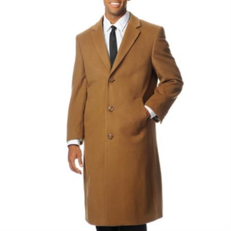 Product# PN86 'Harvard' Camel ~ Khaki Cashmere Blend Long Top Coat