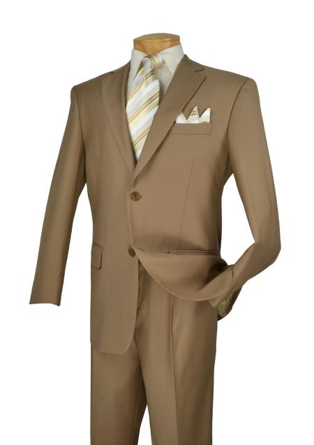 Khaki 2 Button Style Big And Tall men's Suits for Online 2 Piece Italian Cut