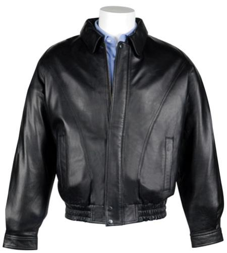 Lamb Leather with Zip-Out Liner Classic Cut Bomber Jacket Liquid Jet Black Available in Big and Tall Sizes