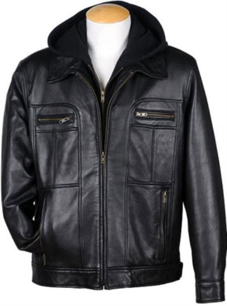 4-Zip Pocket Front Lamb Leather Hooded Jacket Liquid Jet Black Available in Big and Tall Sizes