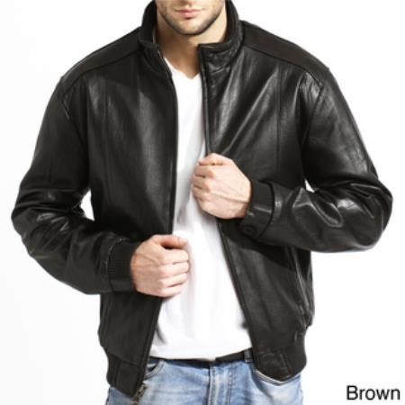 Product# AC-209 Lambskin Leather Bomber Jacket Black,brown color shade Available in Big and Tall Sizes