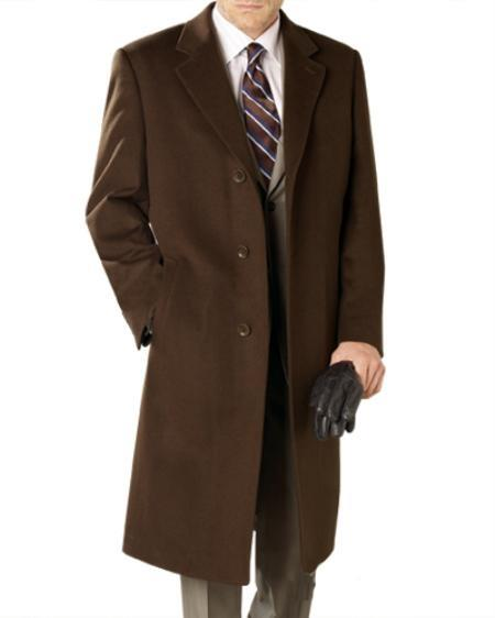Product# WF9202 Reg: $1495 Lanzino Luxurious High-Quality 30% Cashmere Premium Top Coat brown color shade Price