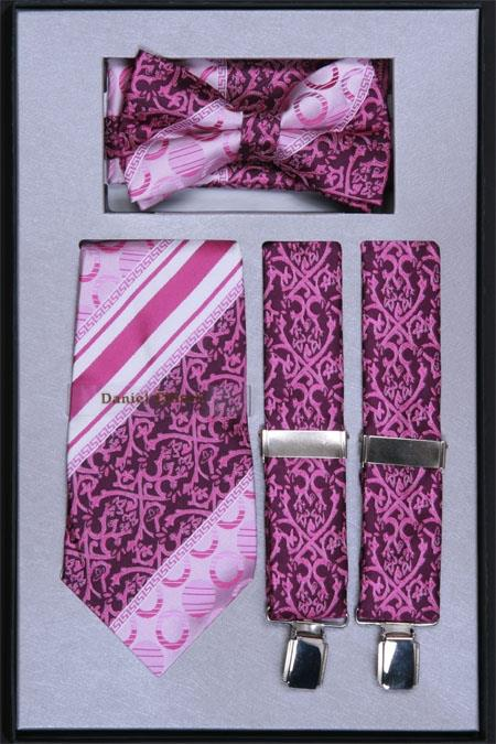 Product# FK77 Suspender, Tie, Bow Tie ~ Bowtie and Hanky Set Lavender