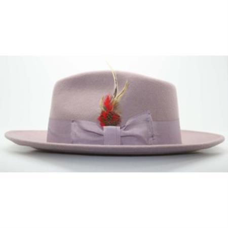 Lavender Fedora suit hat