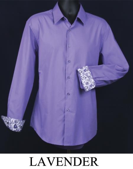 Product# KA5589 Fancy Slim narrow Style Fit Dress Shirt - Cuff Pattern Lavender