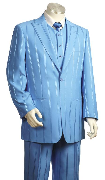 Product# GW5523 3 Piece Fashion Long length Zoot Suit For sale ~ Pachuco Mens Suit Perfect for Wedding Powder Sky Light Blue Tone On Tone Shadow Stripe ~ Pinstripe Clearance Sale Online