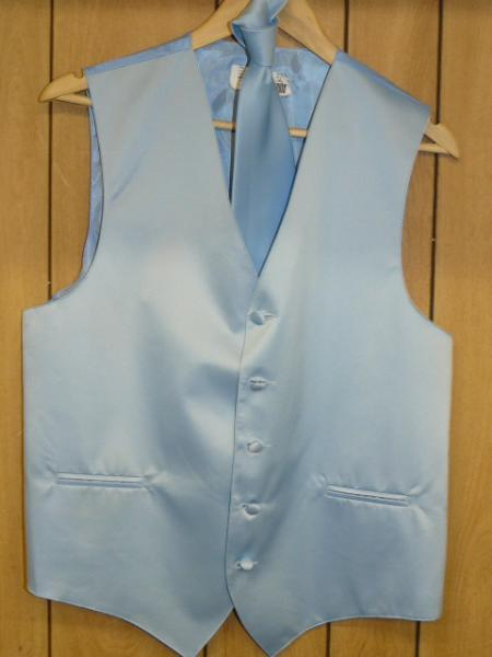 Product# KA1308 LIGHT BLUE VEST & TIE SET