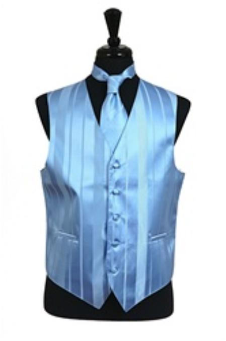 Vest/Tie/Bowtie Sets (Light Blue Tone on Tone)