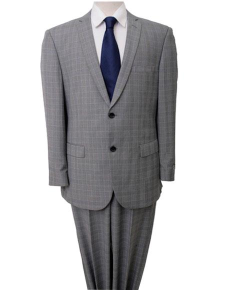 Product# M222 ZeGarie Men's Windowpane Pattern Single Breasted Two Piece Light Gray Suit with Flat Front Pant