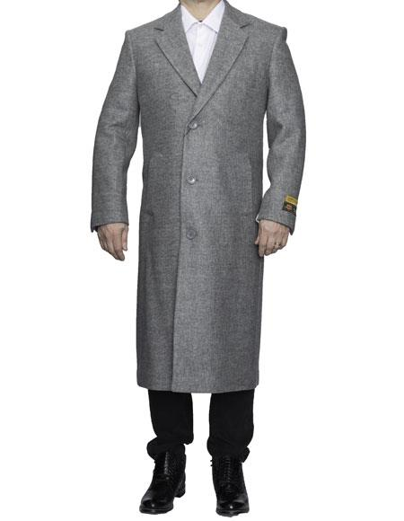 Product# CH1883 Mens Full Length Wool Dress Top Coat / Overcoat in Light Grey