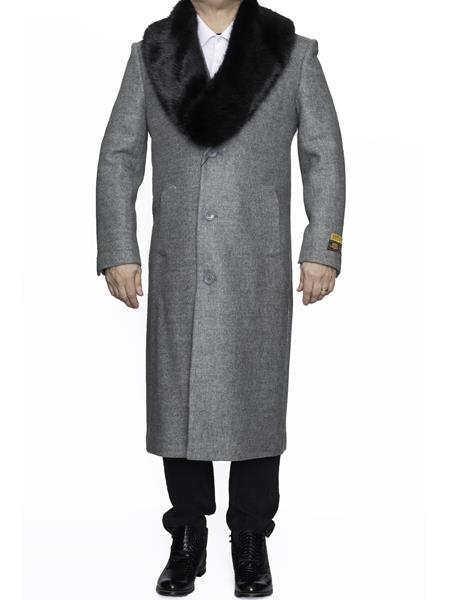 Product# SM4809 Mens Removable Fur Collar Full Length Wool Dress Top Coat / Overcoat in Light Grey Authentic Reg:$700 Designer Alberto Nardoni Best Mens Italian Suits Brands now on Sale