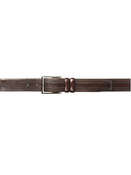 Product# JA305 Mezlan Brand Men's Genuine Lizard / Calfskin Cognac Skin Belt