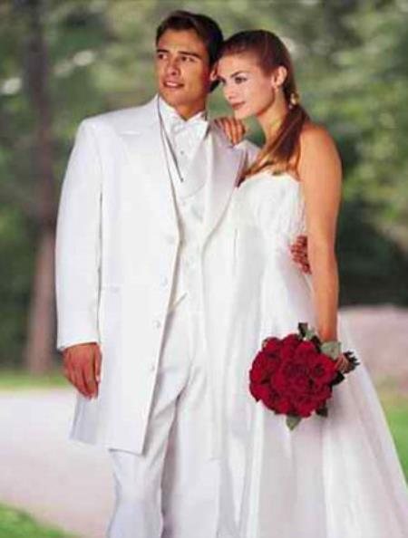 Product# 287 Classic Modern Longer 36 Inch White Long length Zoot Tuxedo For