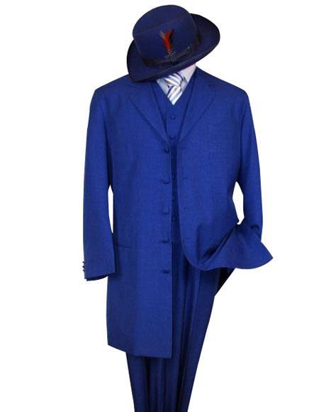 Classic Long Royal Blue Suit For Men Perfect  pastel color Fashion Long length Zoot Suit For sale ~ Pachuco men's Suit Perfect for Wedding
