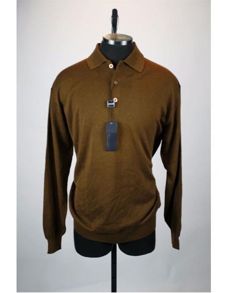 Product# Z52S6U Men's Long Sleeve 3 Button Brown Solid Silk Blend Polo Sweater