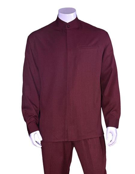 Mens Burgundy Long Sleeve