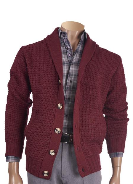Mens Wool Blend Burgundy