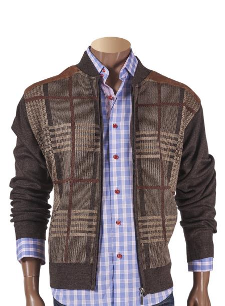 Mens Checked Front Brown