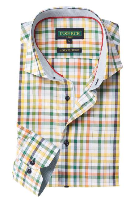 Mens Green/Yellow Collared Cotton
