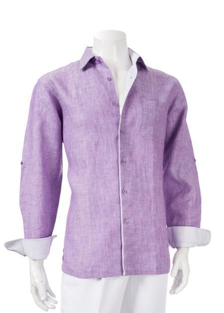 Mens Linen Roll-Up Sleeve