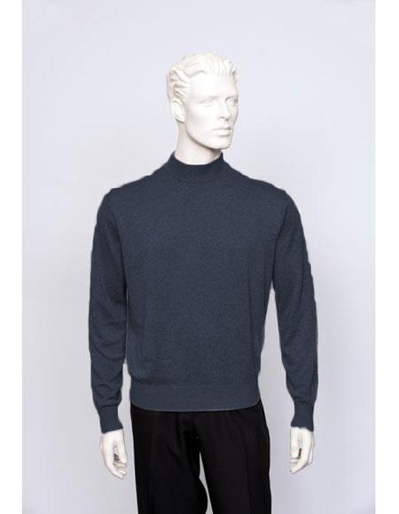 Product# CH1605 Men's TULLIANO Solid Silk Blend Brighton Mens Navy Long Sleeve Mock Neck Fine Gauge Knit Sweater