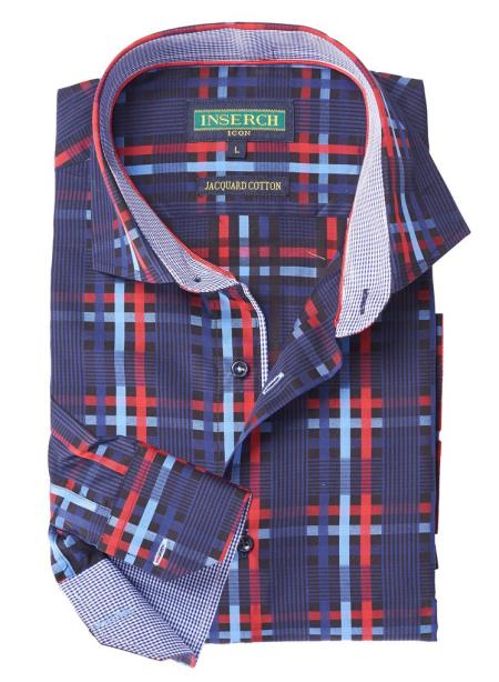 Mens Red/Navy Cotton With