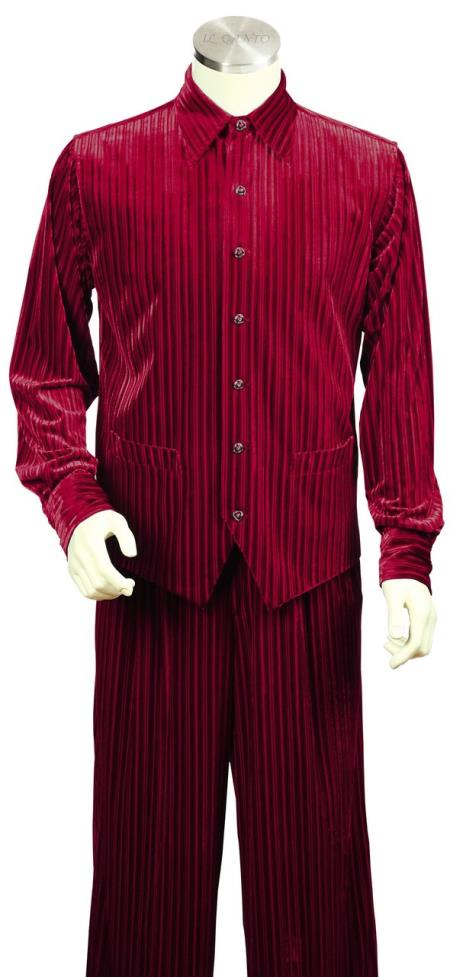 men's Ribbed Velvet Long Sleeve Dual Pocket Accents Red Zoot Suit