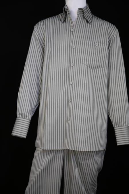 Mens Victorian Stripe Long