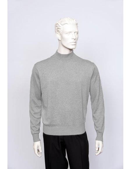 Men's TULLIANO Solid Silk Blend Brighton men's Long Sleeve Mock Neck Fine Gauge Knit Silver Sweater