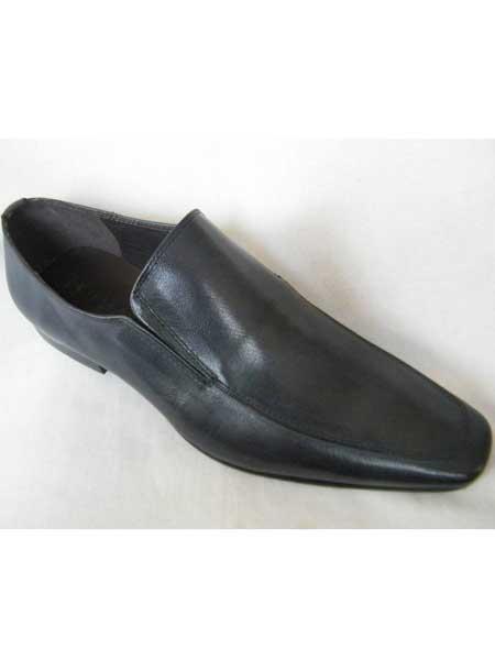 Men's Navy High Fashion Long Toe Loafer Zota Unique Men's Dress Shoes
