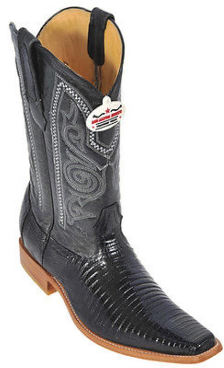 Product#KA8021 Teju Lizard Liquid Jet Black Authentic Los altos Cowboy Boots Western Classics Riding Style