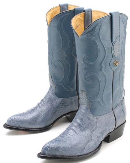 Product#KA1089 Ostrich Leg Blue Jean Authentic Los altos Cowboy Boots Western Classics Rider Style