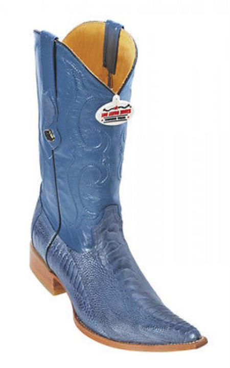 Product#KA0369 Handmade Ostrich Leg Blue Jean Authentic Los altos Cowboy Boots Western Wear Rider