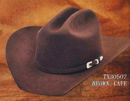 Product# PN50 Cowboy Western Hat Texas Style 4X Felt Hats By Authentic Los altos brown color shade