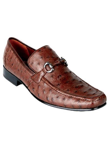 Product# JSM-4591 Men's Genuine Ostrich Dress Slip On Casual Loafer Handmade EE Los Altos Shoes