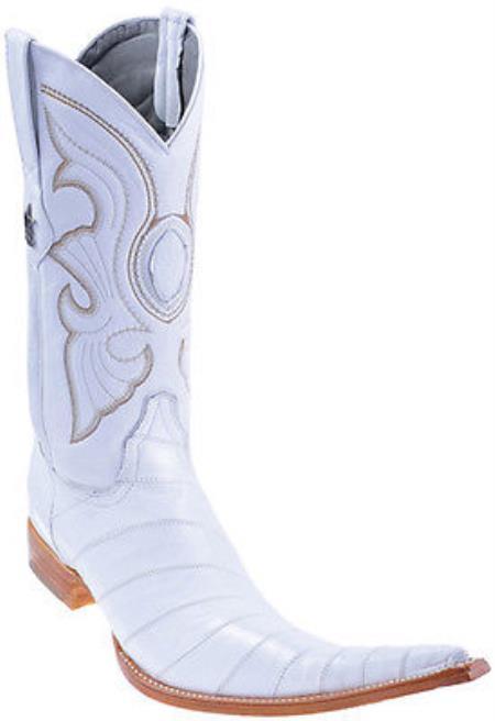 Product#KA2001 Eel Classy Vintage Riding White Authentic Los altos Western Boots Cowboy Classics