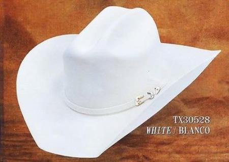 Product# PNC69 Cowboy Western Hat Texas Style 4X Felt Hats By Authentic Los altos White