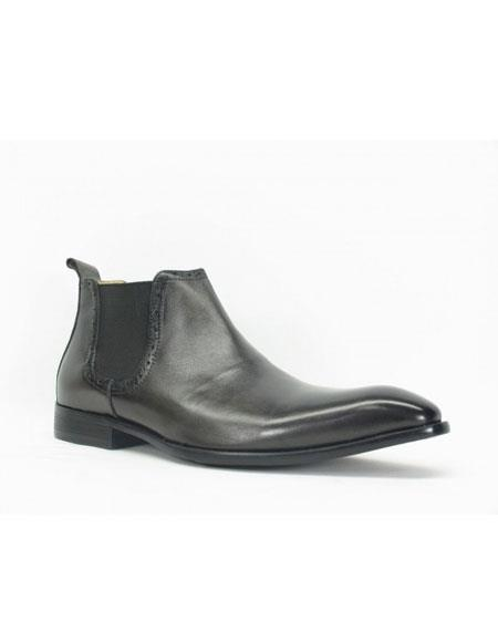 Product# JSM-5413 Men's Carrucci Burnished Calfskin Slip-On Low-Top Chelsea Boots Black