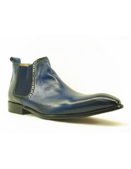 Product# JSM-5415 Men's Blue ~ Black Carrucci Burnished Calfskin Slip-On Low-Top Chelsea Boots