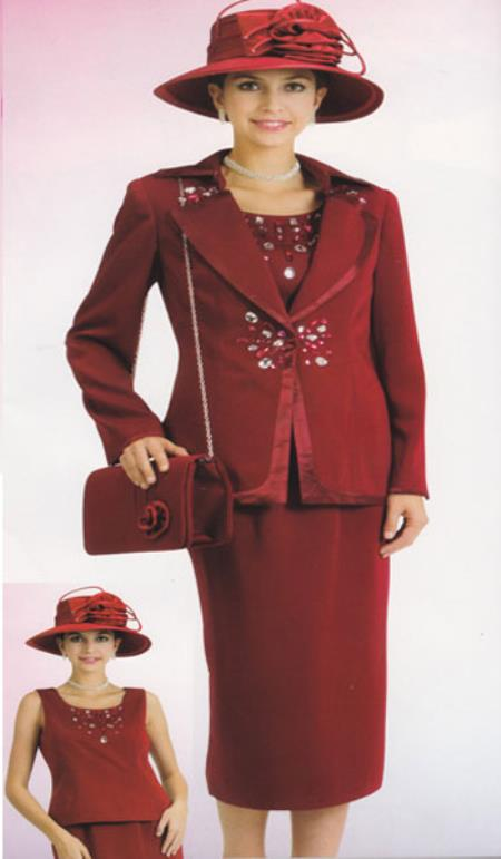 Product# KA6113 Lynda Couture Promotional Ladies Suits- Burgundy ~ Maroon ~ Wine Color