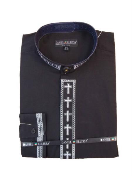 Preacher Collar Mens Shirts