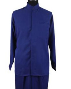 Product# JR60W 2-piece Mandarin/ Banded Collar trendy casual Shirt Set /Walking Suit Royal Blue Suit For Men Perfect  pastel color